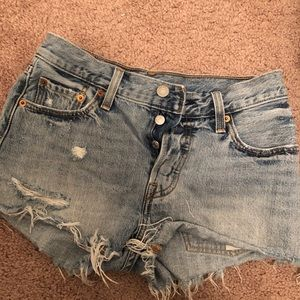 Ripped Levis Jean Shorts